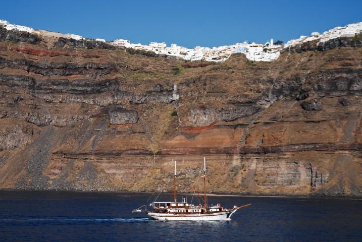 Santorini Island Coastline. Greece, Aegean Sea.