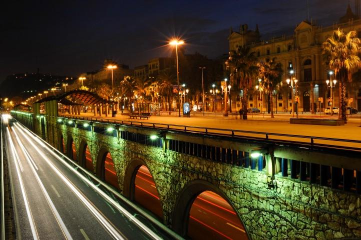 Barcelona nightview, Catalonia, Spain.